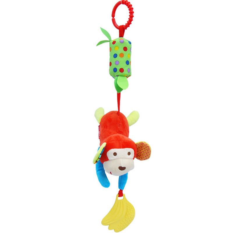 Cartoon Animal Baby Bed Hanging Toy Kids Plush Pram Hanging Doll Newborn Stroller Bell Infant Bed Cot Hanging Toys