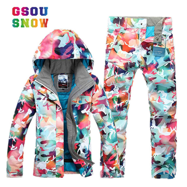 f75e0a60a5 GSOU SNOW new waterproof ski suit women winter suit thermal ski jacket+ski  pants outdoor snowing clothing set for snowboarding