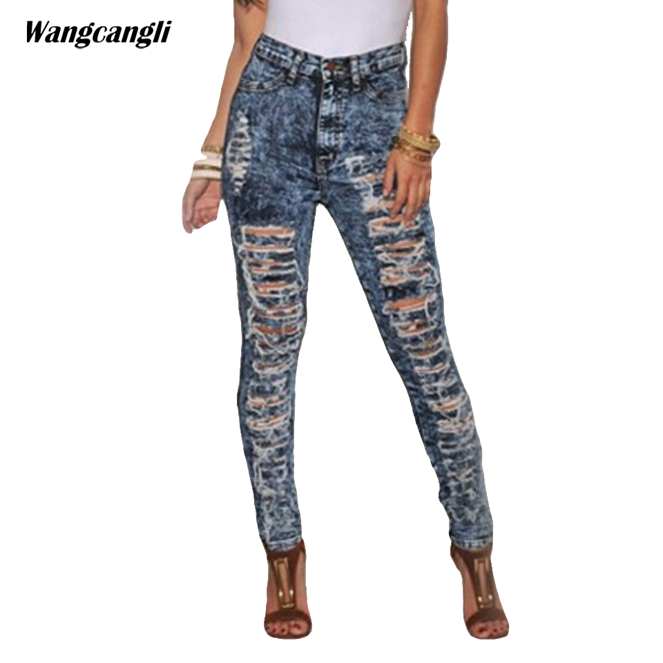jeans women summer Tight Striped on the thighs hollow out Stretch cowboy fashion Beggars with jeans for woman XS 2XL wangcangli