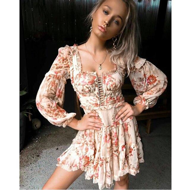 9ddd3ba3cc 2018 Summer WOMAN Luxury Cream Floral CORSAIR FRILL CORSET Mini DRESS  Ruffles lattice front detail gathered tier Hem Zip back