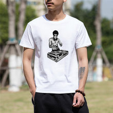 Summer tshirt Funny t shirt men Cotton Crazy DJ Bruce Lee Printed Funny Cotton T Shirt for men(China)