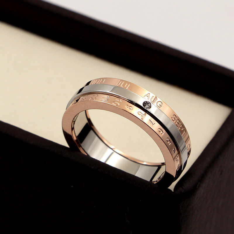 Martick Popular Rotatable Calendar Rings For Woman/Man/Couples Rose Gold Color Letter Rings 316L Stainless Steel Rings R129