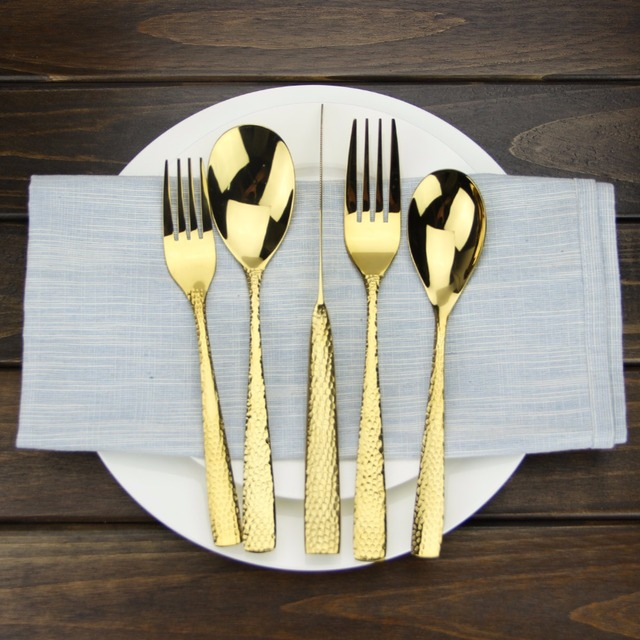 Luxury Gold Stainless Steel 1810 Flatware Set Silverware Dinner