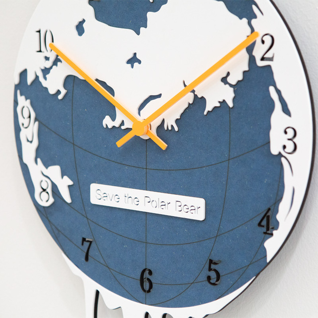 Polar Bear Creative Wall Clock Living Room Modern European Fashion List Mute Children's Bedroom Individuality Quartz Clock