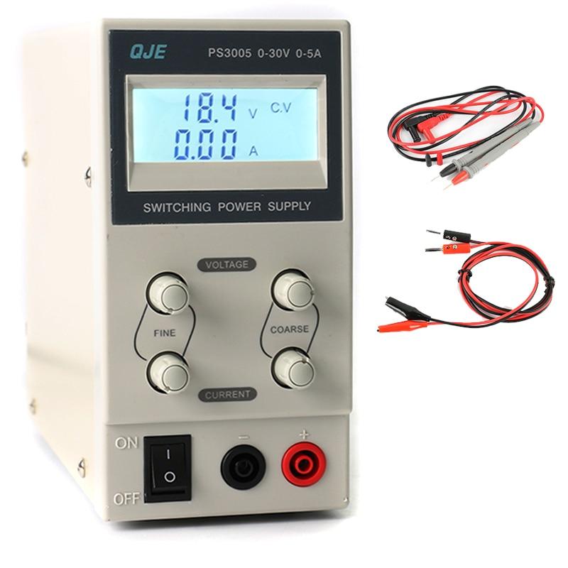 QJE PS3005 30 В 5A Профессиональный ЖК-дисплей цифровой регулировкой Питание лаборатории коммутации Питание 220 В-230 В США/ЕС/АС Plug