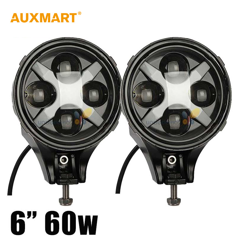 Auxmart 6 Inch Led Fog Light 60w Round LED Driving Light 12V 24V For Jeep Wrangler JK Ford 4x4 4WD Offroad LED Light Bar auxmart 22 led light bar 3 row 324w for jeep wrangler jk unlimited jku 07 17 straight 5d 400w led light bar mount brackets