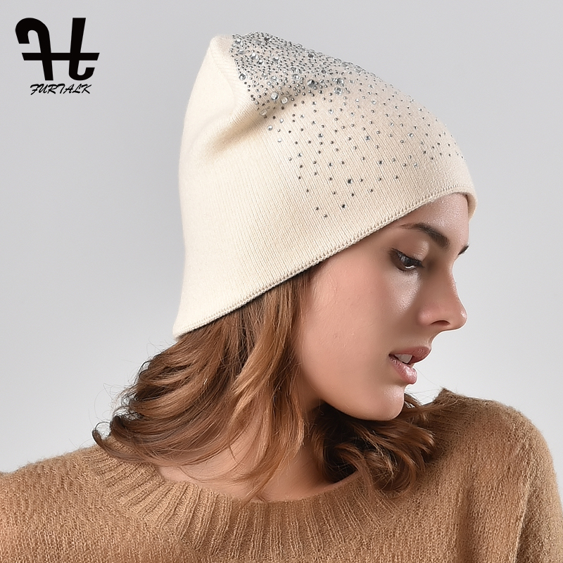 FURTALK Winter Cotton   Beanie   Hat for Women Soft Warm Autumn Knit Hats for Girls Rhinestone Diamond   Skullies     Beanie   Hats 2019