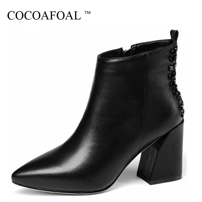 COCOAFOAL Winter Women's High Heels Chelsea Boots Genuine Leather Ankle Boots Plus Size Pointed Toe Genuine Leather Woman Shoes cocoafoal woman green high heels shoes plus size 33 43 sexy stiletto red wedding shoes genuine leather pointed toe pumps 2018