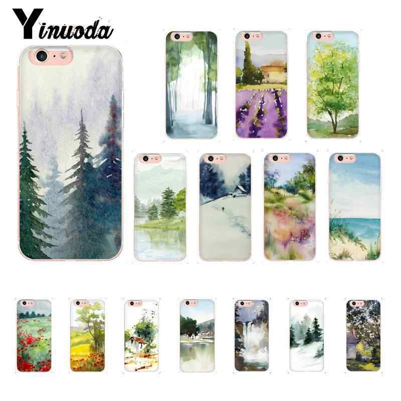 Yinuoda Newest Forest and Sun Watercolors Trees TPU Soft Phone Cover for iPhone 8 7 6 6S Plus 5 5S SE XR X XS MAX 10 Coque Shell