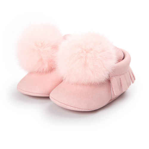 Spring Autumn Winter Infant Baby Boy Girl PU Pompon ball Shoes Casual Solid Color Soft Sole Anti-Slip First Walkers Shoes 0-18M