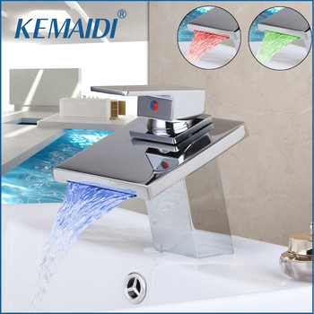 KEMAIDI Solid Brass Chrome Taps  Bathroom Faucet Deck Mount Basin Mixer Tap banheira torneira LED Waterfall Mixer Tub Faucets