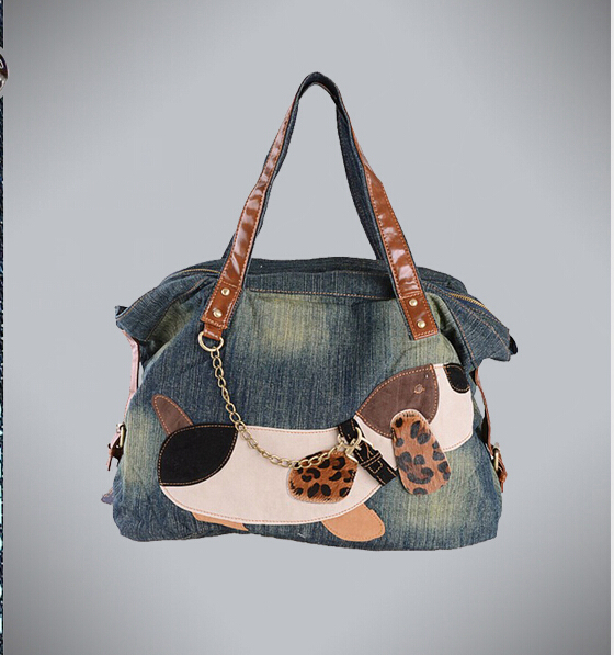 [TC] New 2014 women handbags hot selling fashion denim female jeans bag personalized cartoon women bag free shipping
