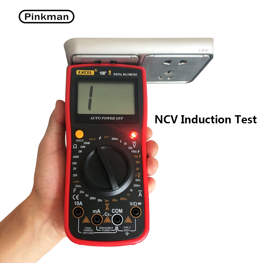 EXCEL 15B+ AC DC LCD Display Electric Handheld Voltmeter Ammeter Ohm Capacitance NCV Tester Meter Digital Multimeter Multimetro auto digital multimeter 6000counts backlight ac dc ammeter voltmeter transform ohm frequency capacitance temperature meter xj23