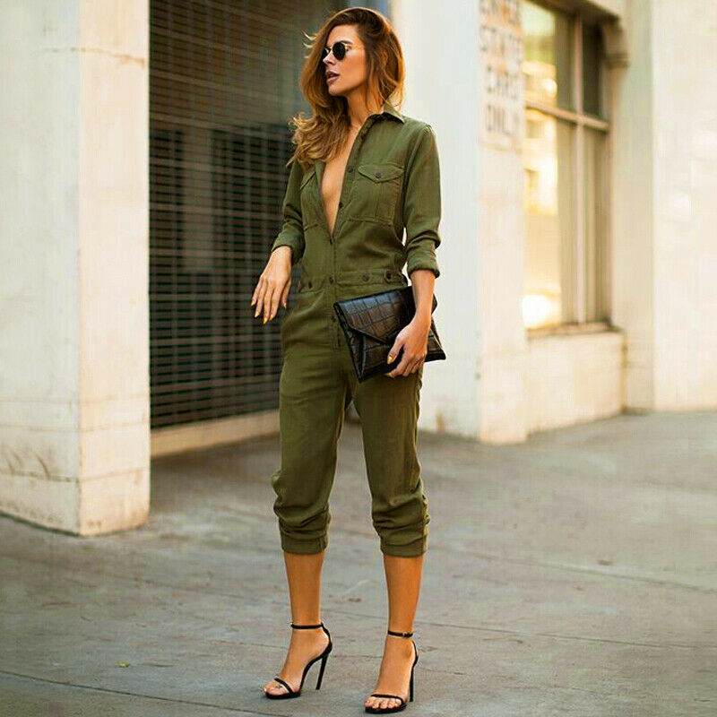 New Fashion Women Slim Bodycon Jumpsuit Long Sleeve Army Green Solid Casual Romper Ladies Vintage Romper Long Pant Jumpsuit
