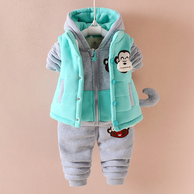 Russian Winter Baby Boys Clothing Sets Warm Sports Tracksuits for Boy Three-piece Vest Suit Costumes for Children 0-3years