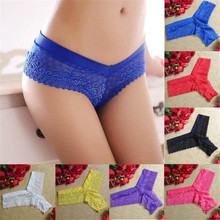 3011#Hot Sale 7Colors Women Lace thong Low Waist One Size V-string Briefs Panties Thongs G-string Lingerie Ladies Underwear