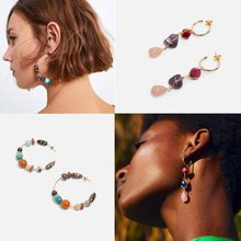 Girlgo 2019 New ZA Style Vintage Drop Earrings For Women Ethnic Long Dangle Colorful Stone Beads Earrings Jewelry Accessories(China)