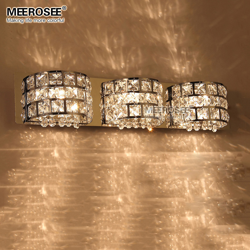 Modern Crystal Wall Light Chrome Metal Wall Lamp Lustre BedSide Lights for Bedroom Study Porch  G9 Bulb MD81634 modern lustre chrome metal led wall lights creative wifi model crystal bedroom led wall lamp corridor led lighting light fixture