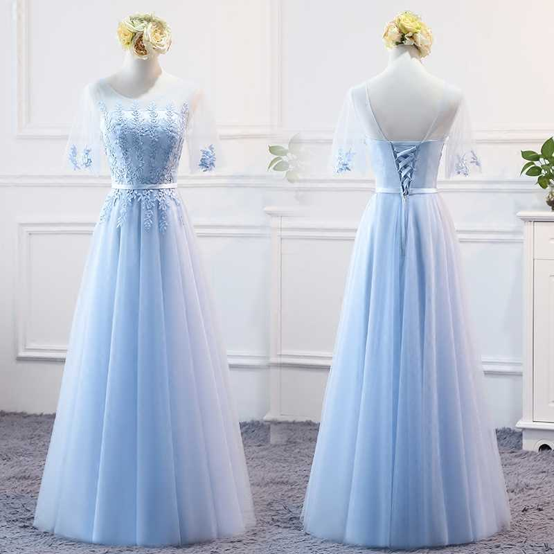 ... MNZ9688 half sleeve embroidery lace up long Sky Blue Bridesmaid Dresses  spring 2017 new party ... 62784f31f232