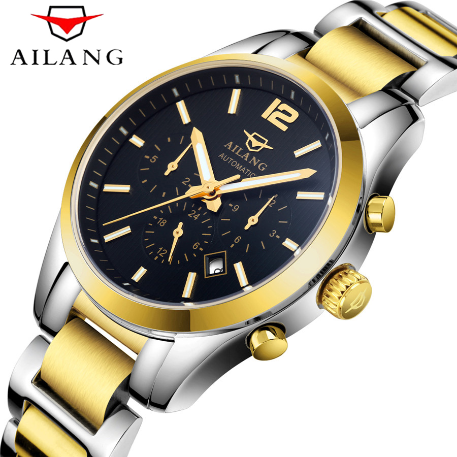 AILANG Famous Brand men Business Automatic Self Wind watches Auto Date man Fashion mechanical wristwatches Stainless Steel band tevise men automatic self wind gola stainless steel watches luxury 12 symbolic animals dial mechanical date wristwatches9055g