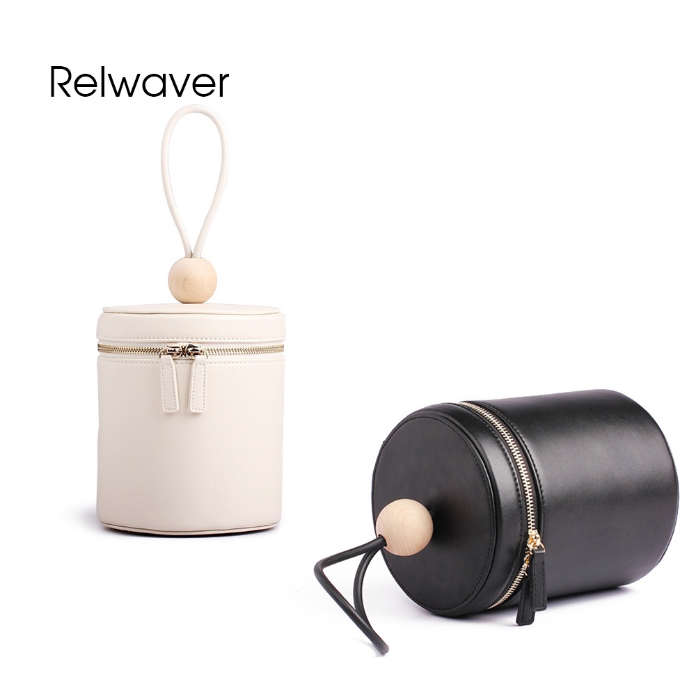 Relwaver handbag women tote bag cylinder shape cowhide split leather polished wo