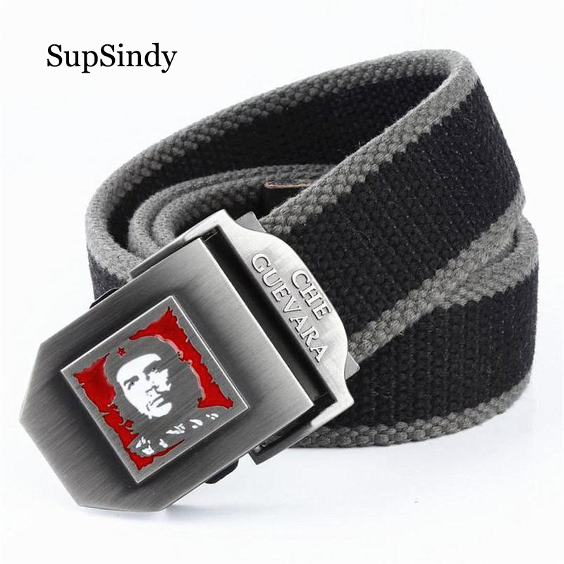 SupSindy Men&women Canvas Belt Che Guevara Metal Buckle Fashion Waistband Military Belt Army Tactical Belts For Men Male Strap