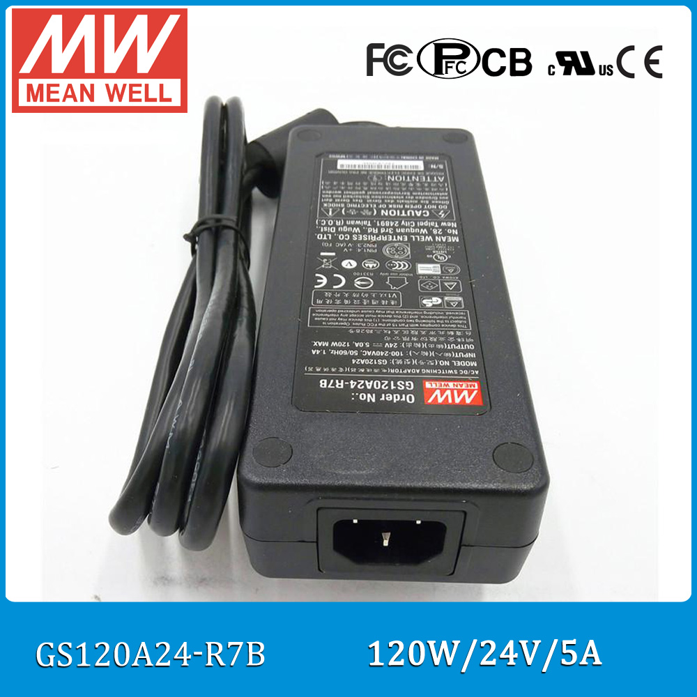 Original Meanwell GST120A24-R7B 3 pole industrial desktop adaptor <font><b>24V</b></font> <font><b>5A</b></font> <font><b>120W</b></font> level V power supply with PFC image