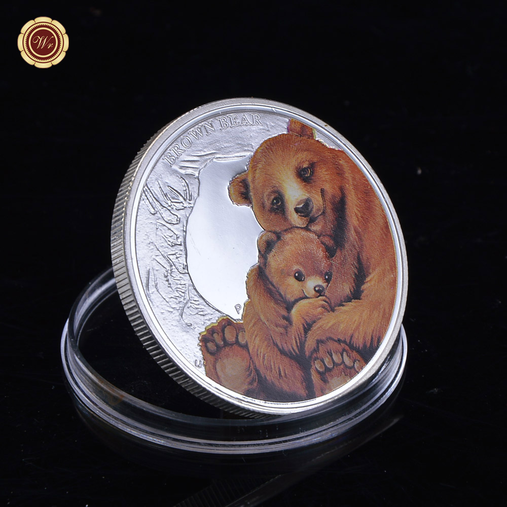 Art Coins Brown Bear Coin 1 Oz Silver Coloured Coins Mothers Love Serials Colorized