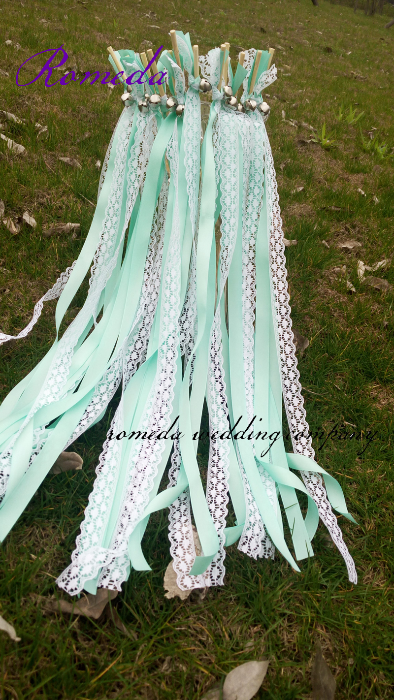 ᐃ50Pieces/Lot Style D Tiffany blue ribbon lace wedding wands with ...