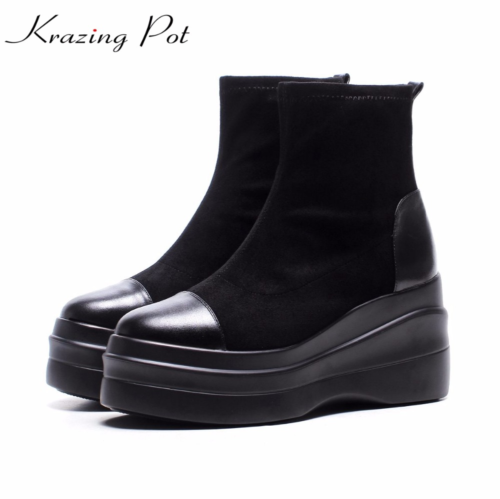 Krazing Pot 2018 genuine leather boots women winter round toe platform solid solid women preppy style