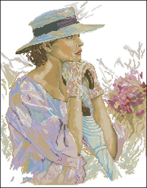 Un Persone Donna 14ct Elegante Needlework Cappello Contati Con xPfZwII