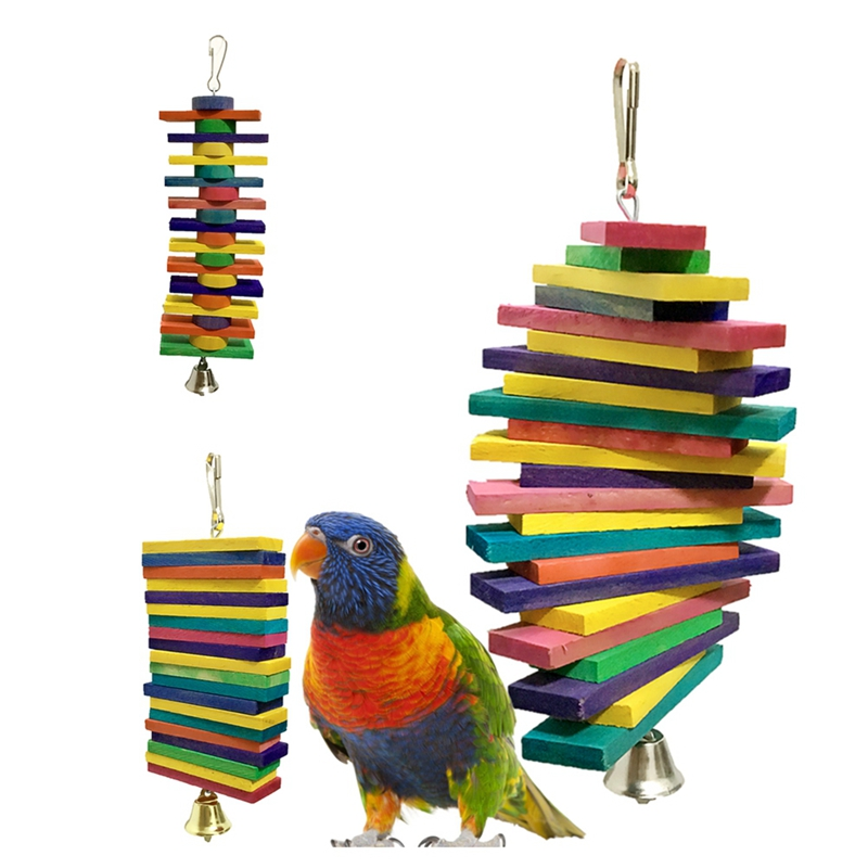 Pet Bird Toy Building Blocks Chew Bite-resistant Toy Hanging Colorful Wooden Parrot Cage