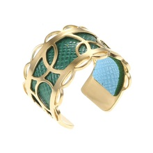 Legenstar New Creative Gold Stainless Steel Rings For Women DIY Open Reversible Leather Ring Bague Femme 2019 Anillo Mujer