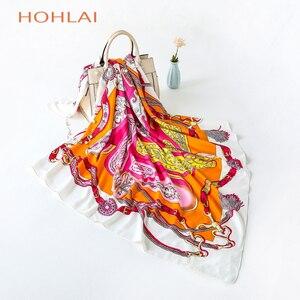Image 3 - 2018 всесезонный Модный женский шарф, роскошный брендовый хиджаб, саржевая шелковая атласная шаль шарф Мусульманский, квадратный головной платок x