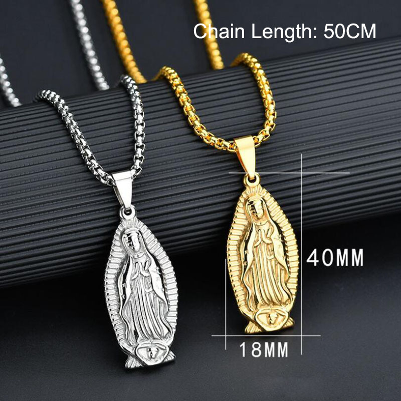 Hot Sale Catholic Guadalupe Virgin Mary Necklace Pendant Stainless Steel Charm Maria Pendants Necklaces for Religious Jewelry