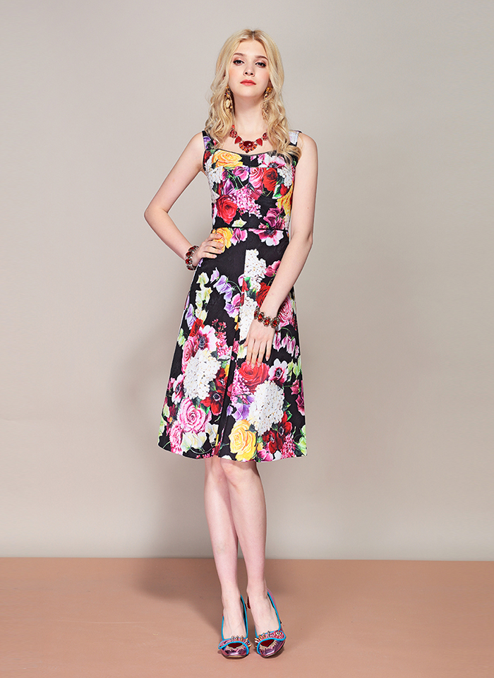 Bao Garret New Hot 2019 Fashion Runway Summer Dress Women 39 s Spaghetti Strap Vintage Floral Print Party Midi Elegant Dress in Dresses from Women 39 s Clothing
