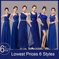 Azul real Vestido de Dama de Largo Para El Banquete de Boda Doble Hombro Gasa Delgada Vestido de Dama de honor Vestido De Festa Longo
