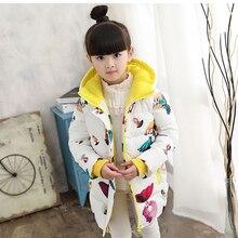New Winter children Outerwear & Coats Girls Graffiti Parkas Hooded Baby Girl jacket Warm Butterfly print Children coat