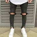 Rasgado Rodilla cremallera Hombres Pantalones Vaqueros de Hip Hop de Moda Urbana para Hombres Motocicleta Angustiante Biker Delgado Skinny Jeans Destroyed Torn pantalones
