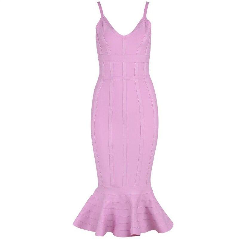 Women Sexy Summer Bandage Dress 2019 Pink Spaghetti Strap Mermaid Vestidos V-Neck Midi Clubwears Celebrity Evening Party Dress