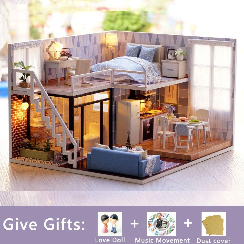 DIY miniatura muñeca Casa modelo edificio Casa Mini Casa Kits Linda habitación madera Casa Poppenhuis niños niñas regalo de cumpleaños-in Muñecas de porcelana from Juguetes y pasatiempos    1