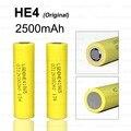 2 pçs/lote novo lg he4 18650 bateria de lítio-ion recarregável 3.7 v 2500 mah bateria pode manter o cigarro eletrônico descarga 20a