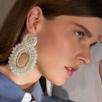 Hyperbole Big Pearl Dangle Geometric Earrings Ellipse Rhinestone Oversize Drop Earrings For Women Long Earring Jewelry