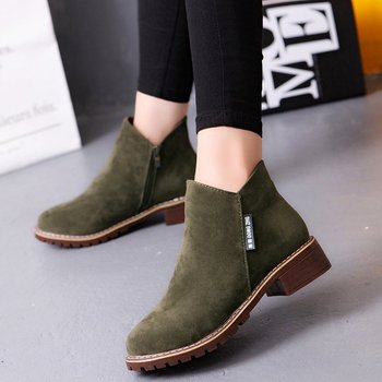 Women Boots Flat Ankle Boots Fashion 2018 Autumn Winter Square Heel Ladies Short Boots Shoes Green Black Brown Female Warm Shoes Boots