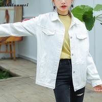 2018 Autumn Letters Embroidered Denim Coat Women New Korean Loose Female Baseball Jackets White Coats Casual Women Outwear