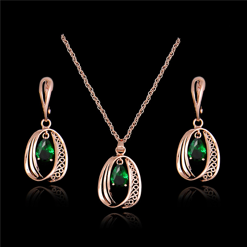 Qcooljly 2019 Hot Design Necklace Earrings Shiny Waterdrop Shape
