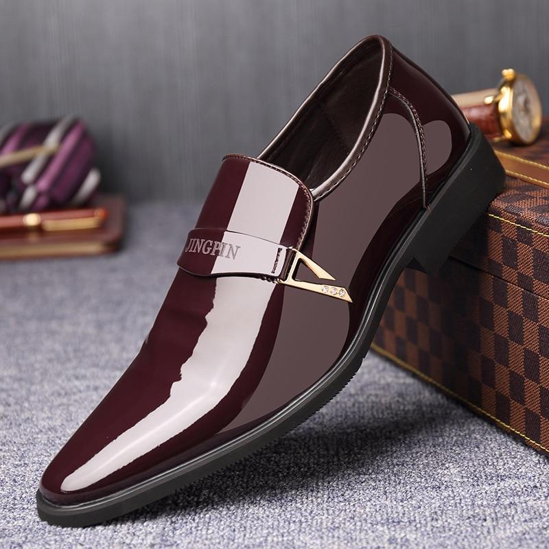 Sapato de couro masculino italiano, mocassim de couro, sapato formal com glitter e ponteira