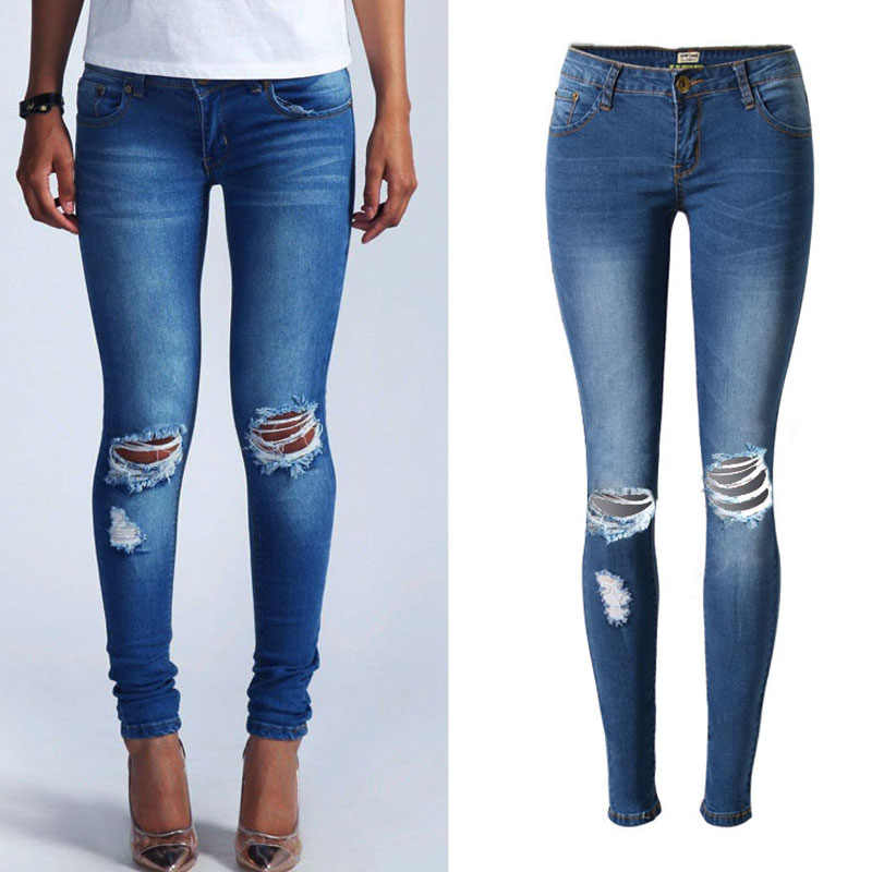 d0a3132ee6a ... NiceMix 2019 Plus Size Vintage Ripped Jeans For Women Sexy Low Waist  Jeans Woman Skinny Pencil ...