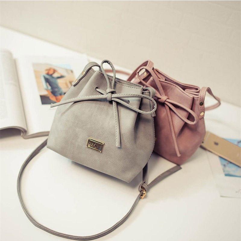 ae6adff24392 US $12.05 5% OFF|Women Bags 2018 New Spring Summer Bow Drawstring Bucket  Bags Small Cross body Bag Fashion Trend Brief Shoulder Bag For Lady-in ...