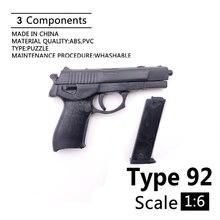 """1:6 typ 92 4D Gun Modell Für 12 """"Action-figur Kunststoff Schwarz Soldat Waffe Zubehör"""